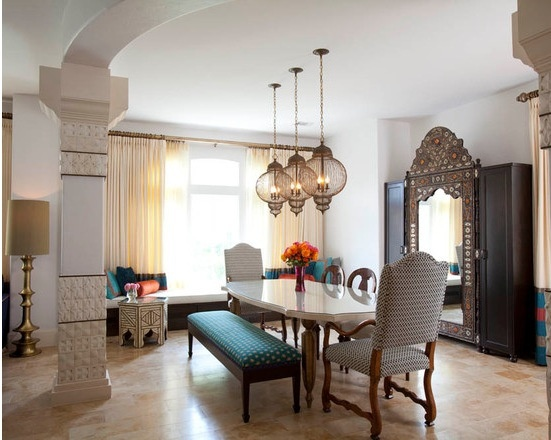 Eclectic Moroccan dinning room.