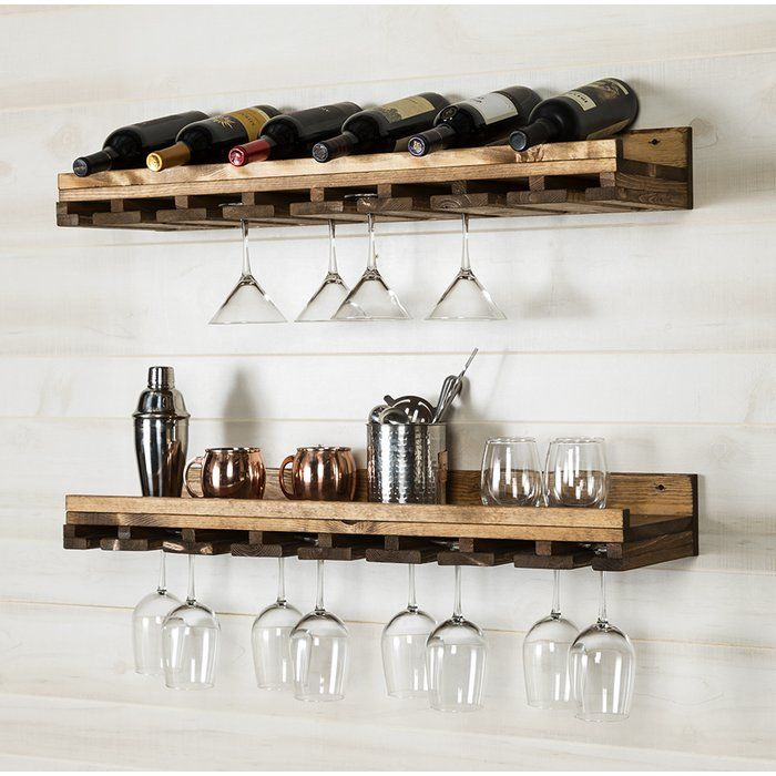 Bernardo Rustic Luxe Tiered Wall Mounted Wine Glass Rack