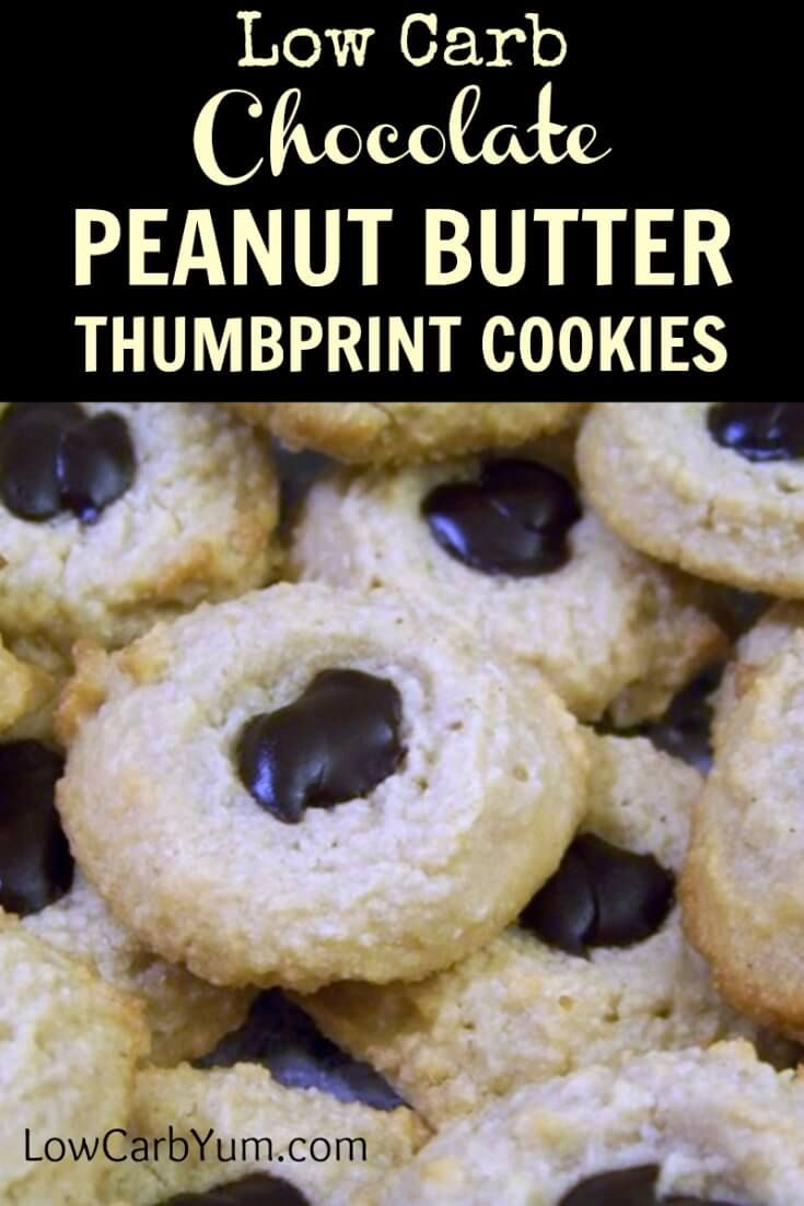 These pretty low carb chocolate peanut butter thumbprint cookies are easy to make. It's a basic gluten free almond flour base dough pressed down with a thumb then filled with sugar free chocolate. | LowCarbYum.com