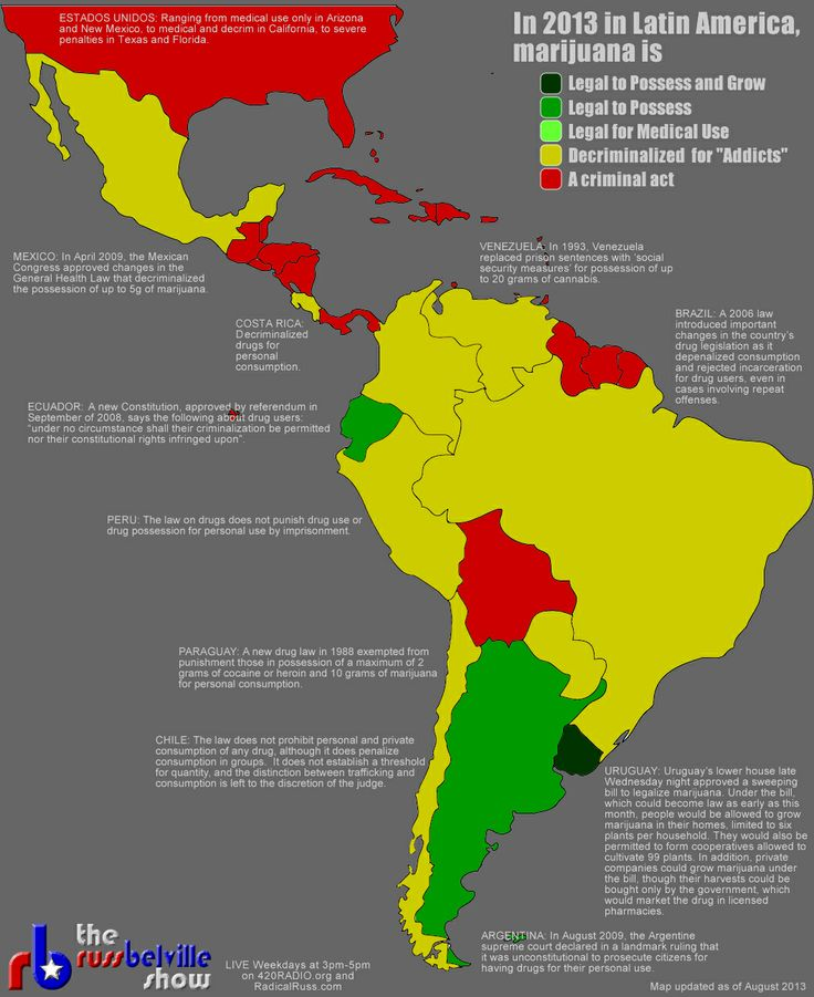 2013 Map Of Latin American Marijuana Laws