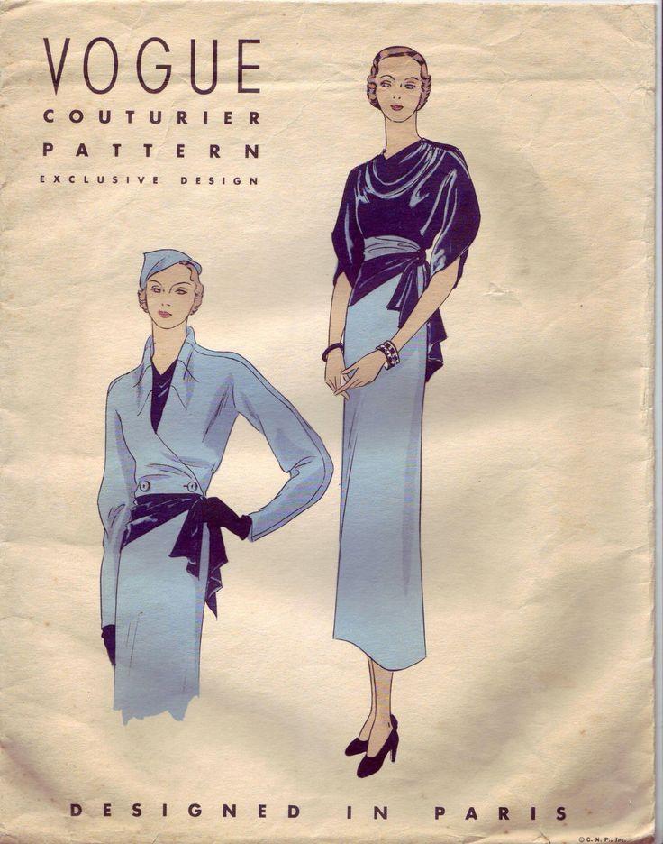 Beautiful Vintage Vogue 30's Couturier Exclusive Paris Design Pattern 206 B32 | eBay [No pattern diagram on original website. NLP]