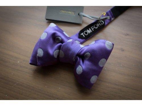 Purple tussah-silk bow tie (Tom Ford) mulberry-silk / handmade