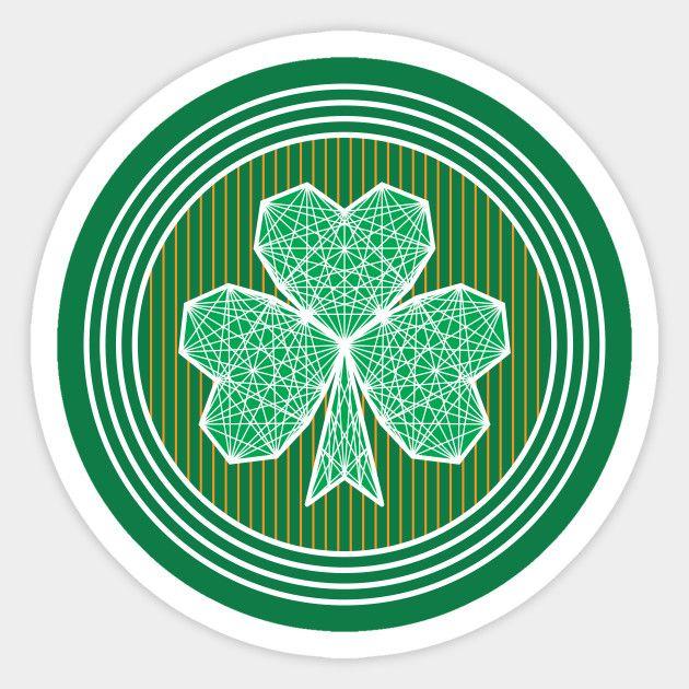 Geometric Shamrock Stickers by Fimbis  _________________________________ Ireland, Irish, Saint Patricks Day, St Patricks Day, Saint Paddys Day, St Paddys day, stripes, Ulster, Munster, Leinster, Connacht, Eire, sticker, fashion, rugby, 6 nations,
