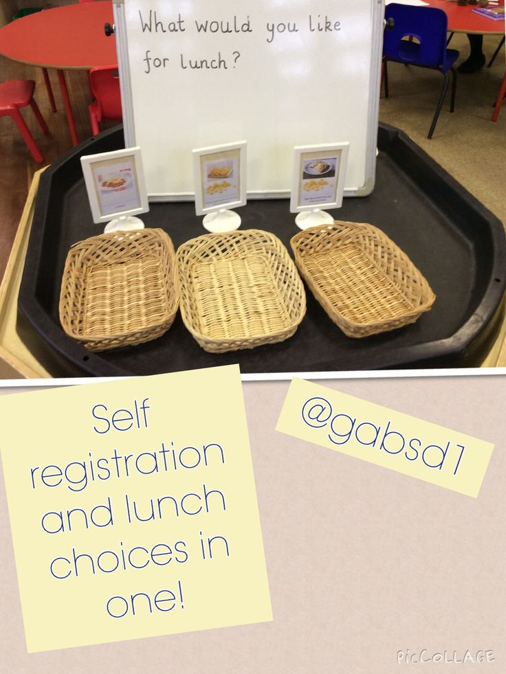 Self registration Child get their name card from their peg and choose their dinner!