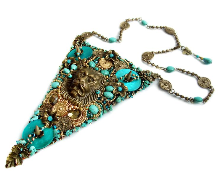Bead+embroidery+necklace++bold+and+unusual+Cersei+by+rododendron7,+$175.00