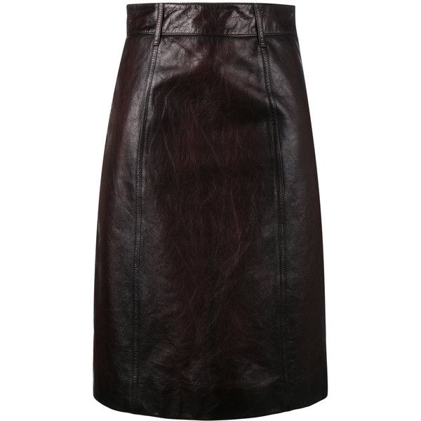 Prada leather pencil skirt ($1,740) ❤ liked on Polyvore featuring skirts, brown, brown skirt, brown leather skirt, high waist knee length pencil skirt, pencil skirts and high-waisted pencil skirts