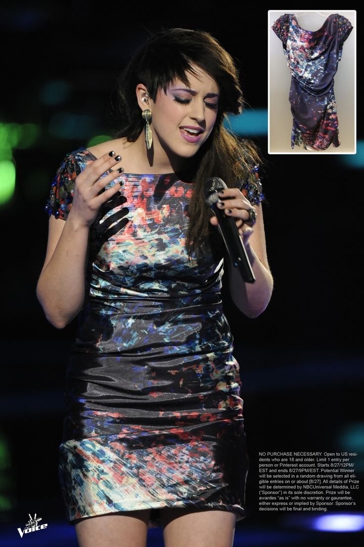 """GIVEAWAY TIME! Win this dress that #TeamXtina's Lindsey Pavao wore during her """"Please Don't Go"""" performance! RE-PIN this pin from @The Voice NBC with #DressLikeTheVoice to enter. Contest ends 9PM EST. Follow us for more giveaways all week long!"""