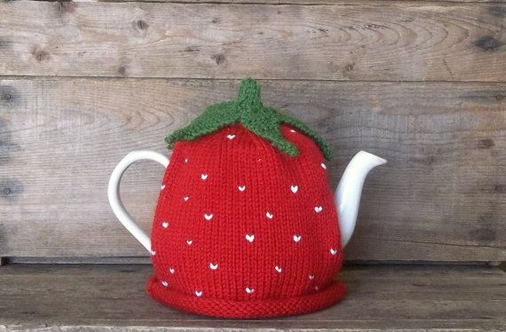 Strawberry Tea Cozy - Handmade Knit Strawberry Fruit Tea Cosy