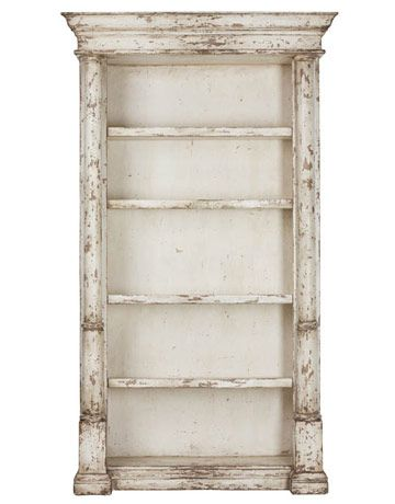 distressed bookcase w/crown