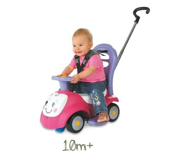 The Maestro II Balade ride-on from Smoby is suitable for children aged 6 to 12 months, and comes equipped with an electric car horn, a phone, a safety belt, and a guide stick for enhanced security.