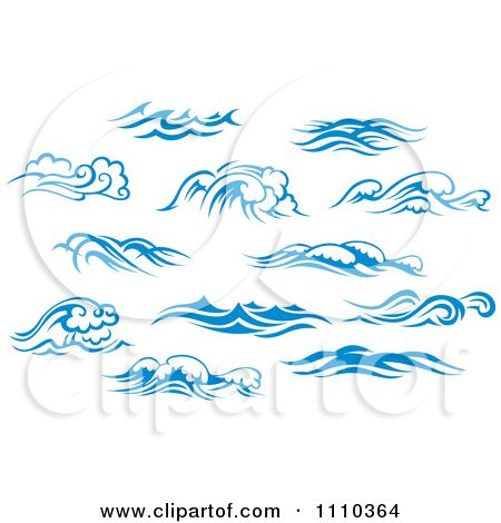 Clipart Blue And White Ocean Surf Waves 5 - Royalty Free Vector Illustration by Seamartini Graphics Media