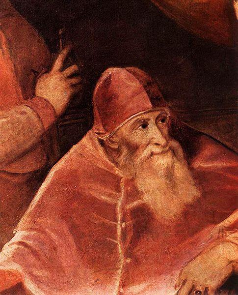 1545-46,Pope Paul III with his Grandsons Alessandro and Ottavio Farnese.(detail) Titian (1490-1576) oil on canvas.210х174cm.National Museum of Capodimonte.В 1545 отдал св.сыну Пьетро Луиджи в наследств.владение Парму и Пьяченцу,наградив его герцог. титулом.