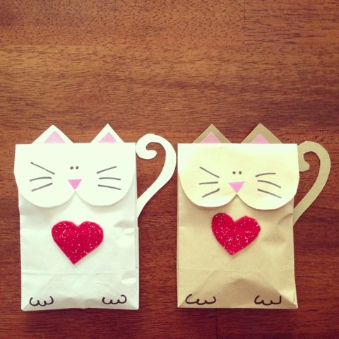 Cat bag valentines