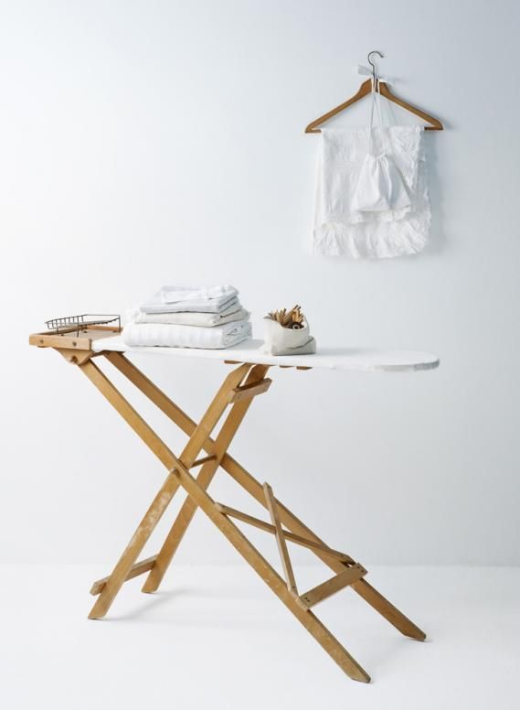 farmhouse style laundry accessories white and wood
