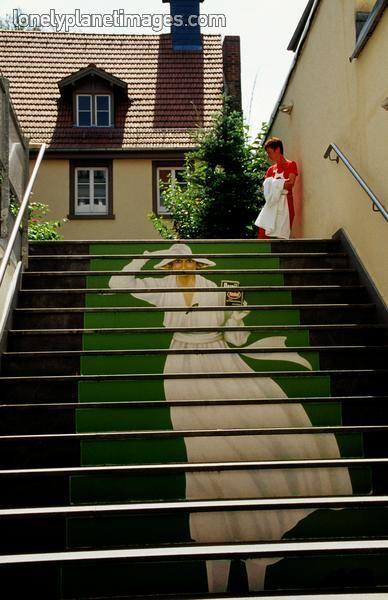 Painted trompe d'oeil staircase at Packaging Museum. Heidelberg, Baden-Wurttemberg, Germany.