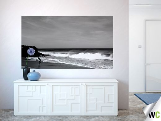 Black and white mural of a surfer at Bells Beach