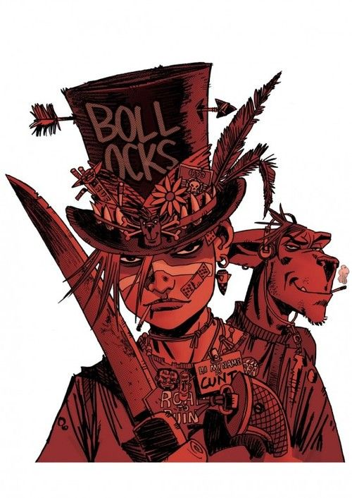This is Tank Girl, and you should worship and fear her.  Drawn by Rufus Dayglo for the NME magazine.