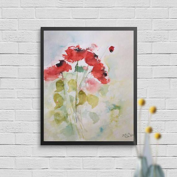 ORIGINAL AQUARELL Aquarellmalerei Mohnblumen Blumen Bild Kunst Art Watercolor Flowers Handmade