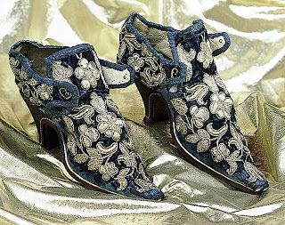 Ca. 1653 Shoes. Blue Velvet with Silver Gilt Thread, the Embroidery comprising a Foliate Pattern