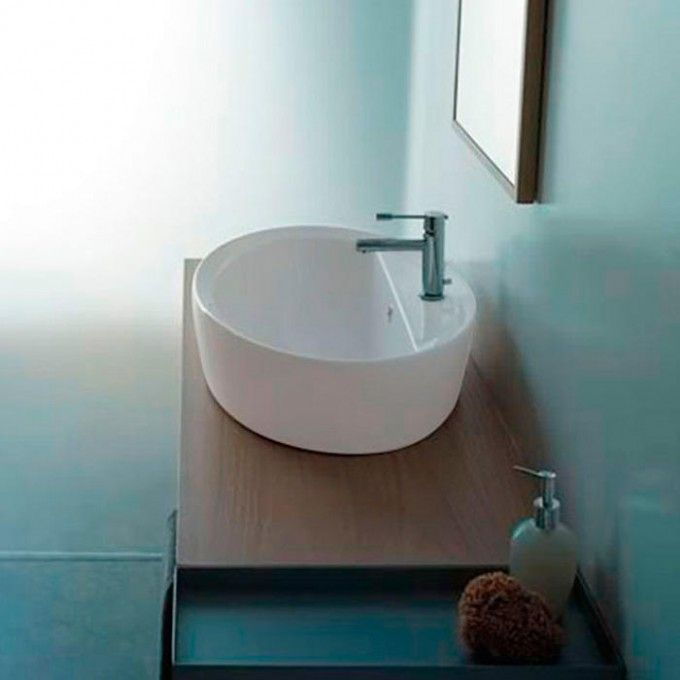 Matty Oval Semi-Recessed Sink with Ledge - Semi-Recessed Sinks - Bathroom Sinks - Bathroom