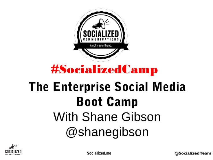 Want to know more about our Enterprise Social Media Boot Camp? #socializedcamp #socialmedia Here are the slides from the event:http://www.slideshare.net/shanegibson/enterprise-social-media-boot-camp-vancouver-june-19-2013