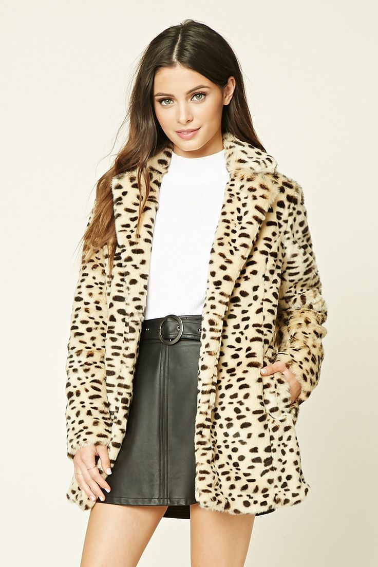 A faux fur coat featuring an allover cheetah print, a notched collar, hidden front pockets, long sleeves, and princess seams.