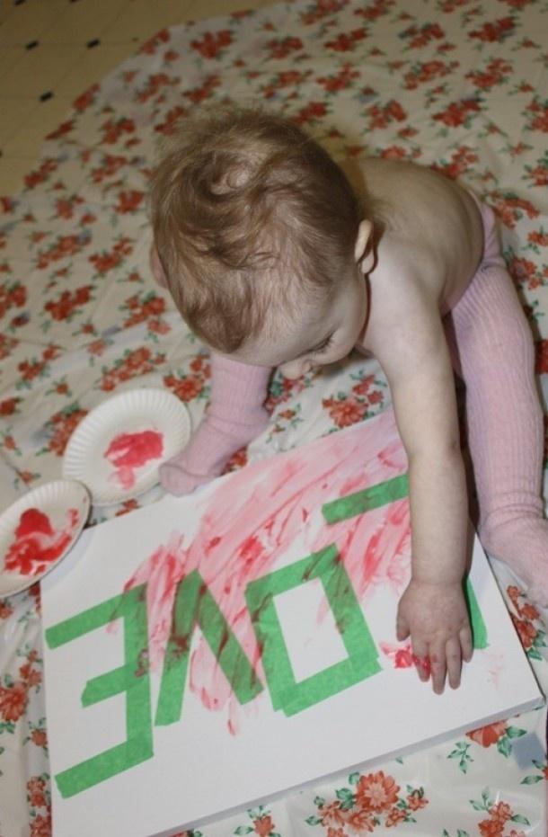 Schilderij op canvasdoek/tekenblad maken. Later afgeplakt woord verwijderen