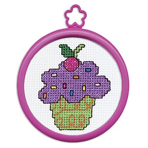 "My First Stitch (Cupcake) -  A fun new hobby to share with friends! Kit includes everything kids need to create their first cross-stitch: 3""Diam. frame, 14ct. white Aida, cotton floss, needle, instructions and chart. Ages 3+. (Product Number PD45451) $1.99 CAD"