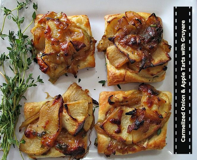 Caramelized Onion & Apple Tarts W/Gruyere