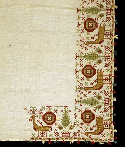 Bed valance , embroidered, 1700s, Greek; Cyclades