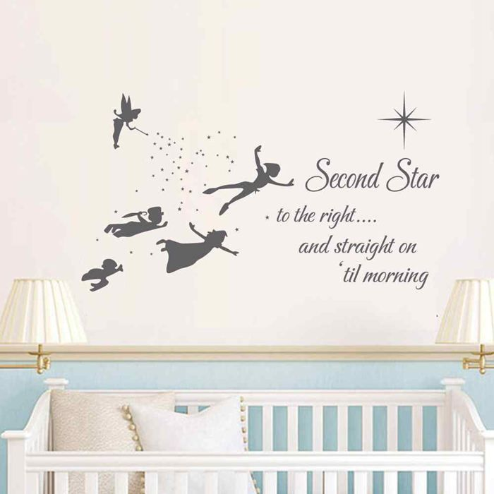 BATTOO Peter Pan Wall Decal Quote- Second Star To The Right Peter Pan - Kids Room Nursery Playroom Flying Silhouette Stickers