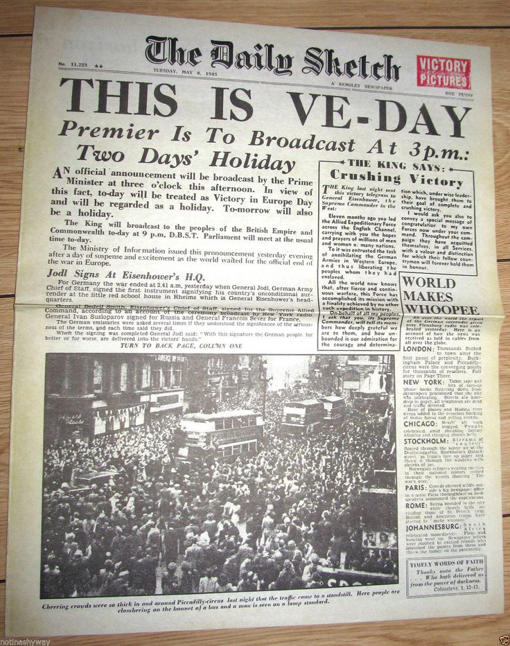Details about 1945 Newspaper VE DAY Daily Sketch Vintage ...