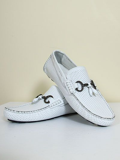 Leather Loafers for Men  - White