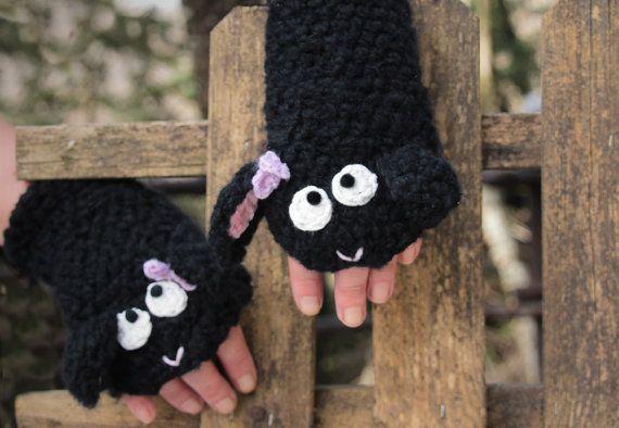Паршивая овца перчатки без пальцев - крючком ручной работы мягкие животное грелки для взрослых и детей, короткие черные перчатки, наручные теплее,