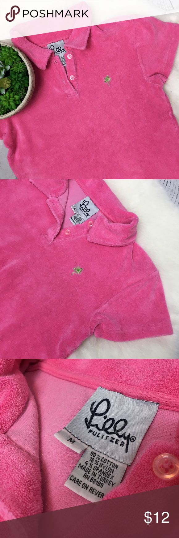 """• Vintage • Lilly Pulitzer PINK Terry Cloth Top M Adorable!!! Bright Pink Lilly Pulitzer Terry Cloth Collared Shirt Size Medium. Fits more as a small. Perfect summer piece!! Great top for the pool or boat! Signature green LP palm tree on chest. Smoke free home in lovely condition!! Measures approximately 17"""" armpit to armpit, 20.5"""" shoulder to bottom front & 21.5"""" shoulder to bottom back. • Bundle & SAVE • Lilly Pulitzer Tops"""