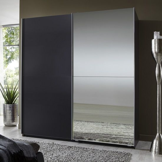 Queen Mirror Sliding Wardrobe Small In Lava With 2 Doors