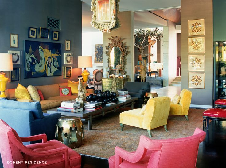 kelly wearstler interior: Living Rooms, Design Trends, Color Combos, Interiors Design, Color Mixed, Pink Chairs, Jewels Tones, Kelly Wearstler, Yellow Chairs