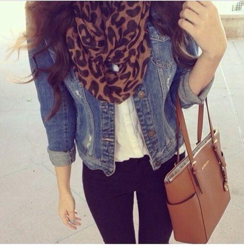 Denim jacket + Leopard scarf + White Shirt + Black Jeans