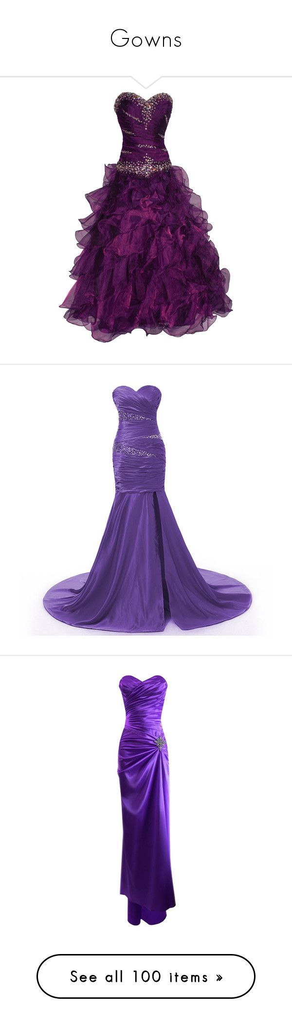 """""""Gowns"""" by annieairwolf ❤ liked on Polyvore featuring dresses, gowns, vestidos, robes, long dresses, purple ball gowns, purple evening dress, prom gowns, beaded gowns and long purple dress"""