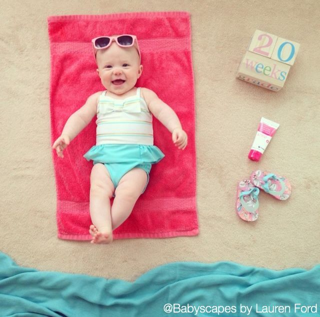 Catching Some Rays! Cute baby photo, weekly photo, beach, sunglasses, towel, sunscreen, baby girl