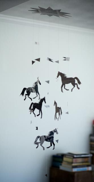 dancing paper horses - cute for the bedroom of any horse-crazy kid.