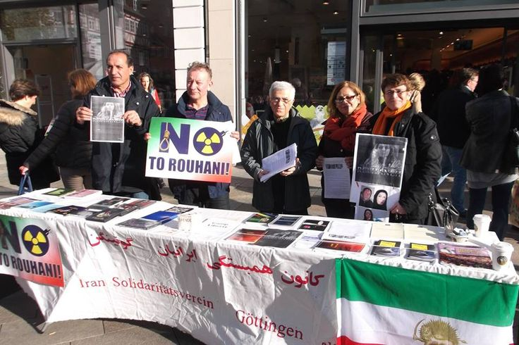 November 8, 2014-Iranians in Gottingen, Germany, protest the execution of Reyhane Jabbari and the wave of acid attacks on Iranian women.