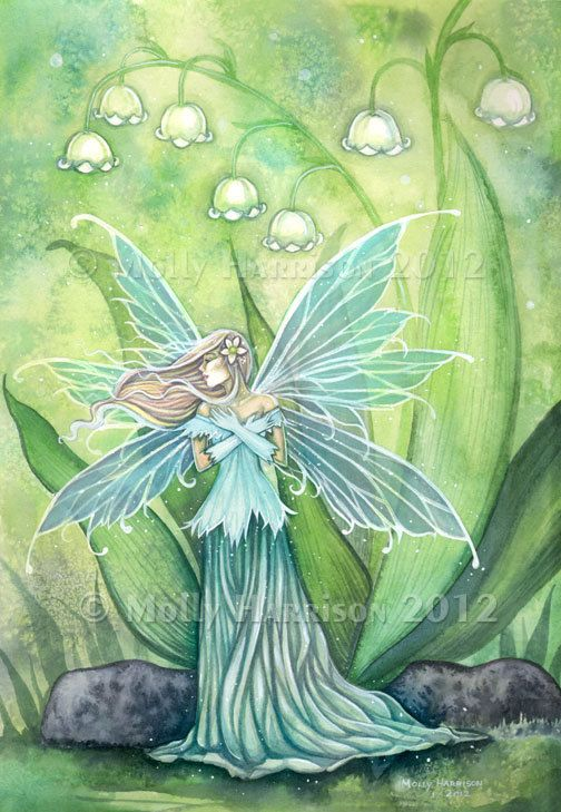 Fairy Print - Lily of the Valley Flower Fairy Large 11 x 17 Fairy Art by Molly Harrison. $30.00, via Etsy.