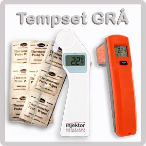 http://www.egenkontroll.nu/Mat-temperatur/TempSet-Gra.html  TempSet Grå  Ta kärntemperaturen med VikTemp, som har utvikbar nål. Scanna yttemperaturen med MikroTemp, som är världens minsta IR-termometer. Båda instrumenten är små och får lätt plats i fickan. 200 st. rengöringsservetter ingår för att rengöra insticksnålen för att eliminera bakteriespridning vid instick.