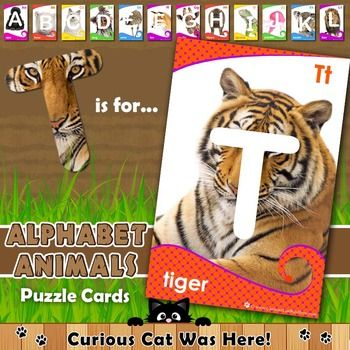Alphabet animal puzzle cards - gorgeous animals for children to discover when they match up the correct letter!