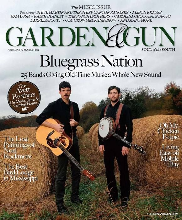 Garden and Gun magazine-Photo Credit: David McClister. The Avett Brothers, Seth and Scott, on their family farm in Concord, North Carolina