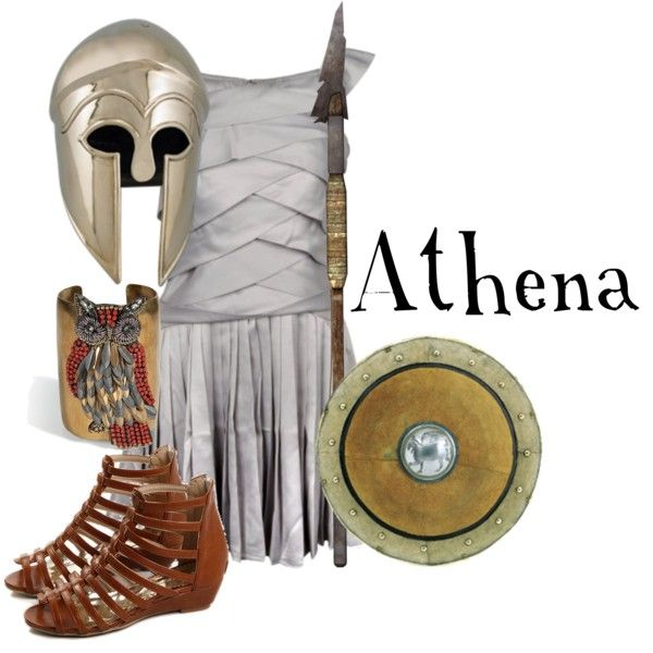 Athena is the Greek goddess of wisdom, strategy, war and travel. She is one of the Twelve Olympians. Athena's symbol is the owl, the wisest of the birds. She also had a breastplate called Aegis, which was a present given to her by Zeus. She is often shown with her helmet on and with her shield, which has Medusa's head on it. This was a present to her from Perseus.