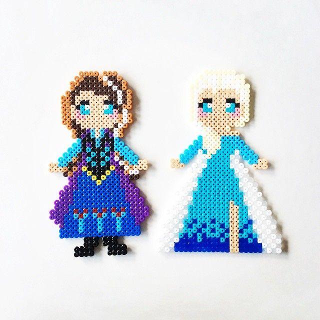 Anna and Elsa - Frozen perler beads by perler_art