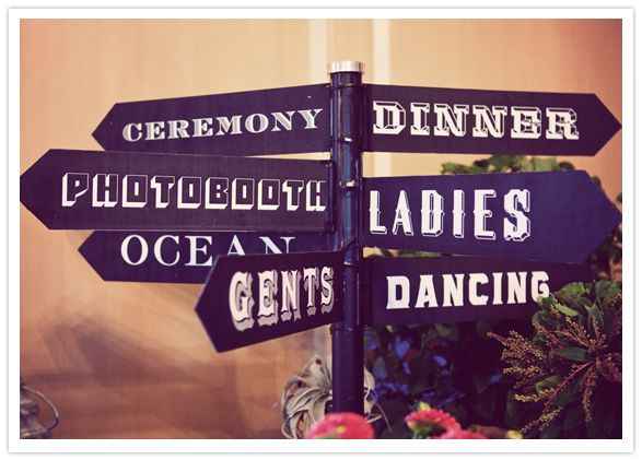Perfect typography for telling guests where to dine, dance and use the loo.: Wedding Signage, Decor Ideas, Directional Signs, Wedding Ideas, Weddings, Reception Ideas, Reception Signage, Party Ideas