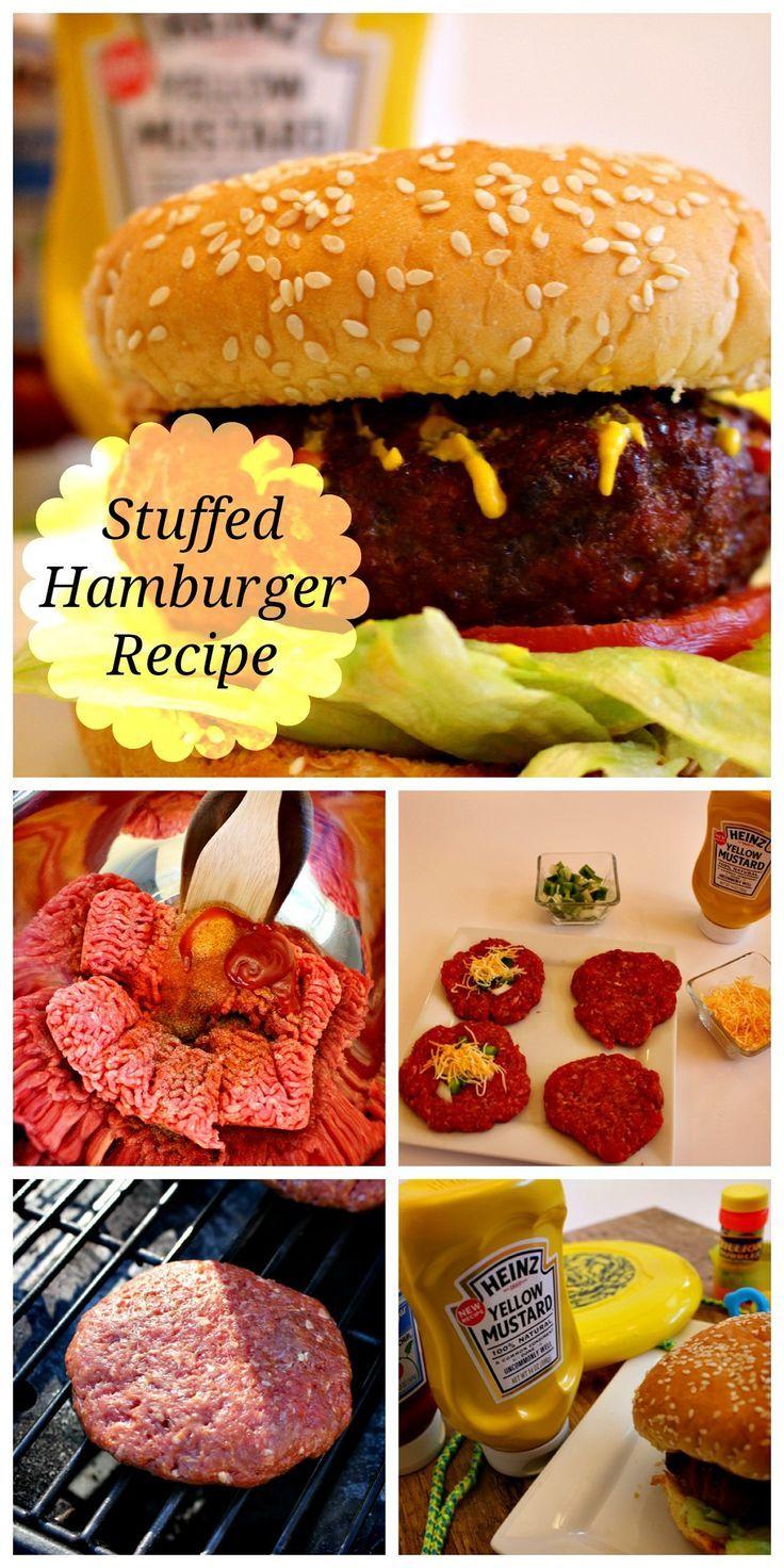 The Best Stuffed Hamburger Recipe! http://scrappygeek.com/stuffed-hamburger-recipe/ #cbias #ad #KetchupsNewMustard #Heinz @walmart #Delish #Burgers #Hamburger #Dinner #BBQ